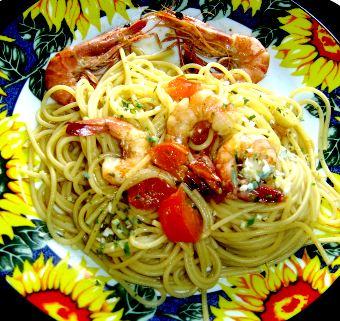 Spaguettis aux Gambas-